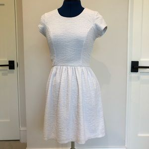 Bar III White Textured Fit and Flare Dress